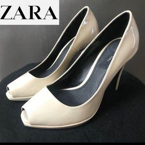 Zara nude patent peep toe heels